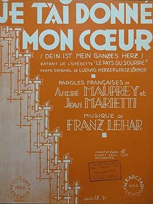 Je T'ai Donné Mon Coeur : donné, coeur, T'ai, Donne, Coeur, Franz, Lehar, AbeBooks