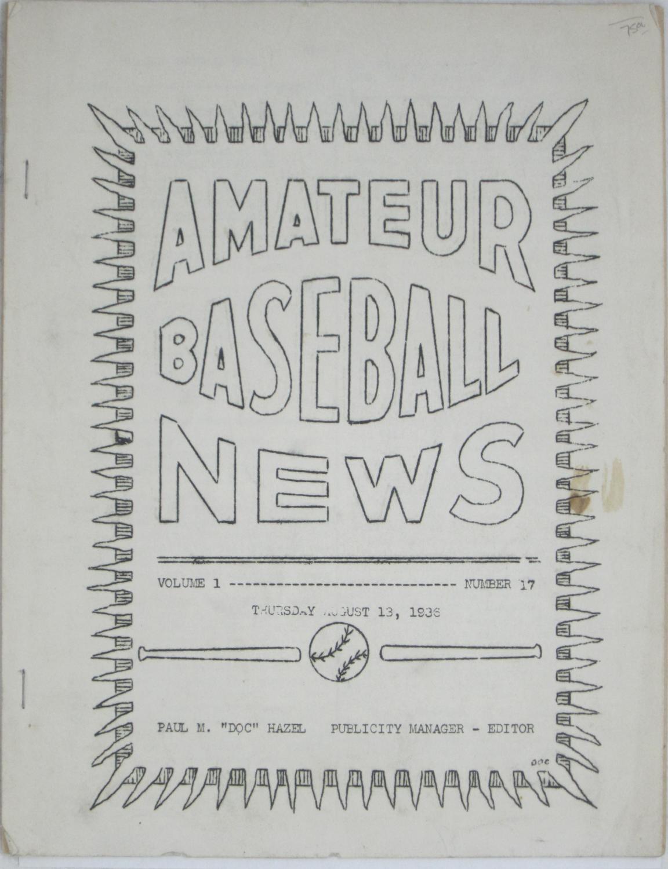 Amateur Baseball News: Volume 1, Number 17 (Thursday