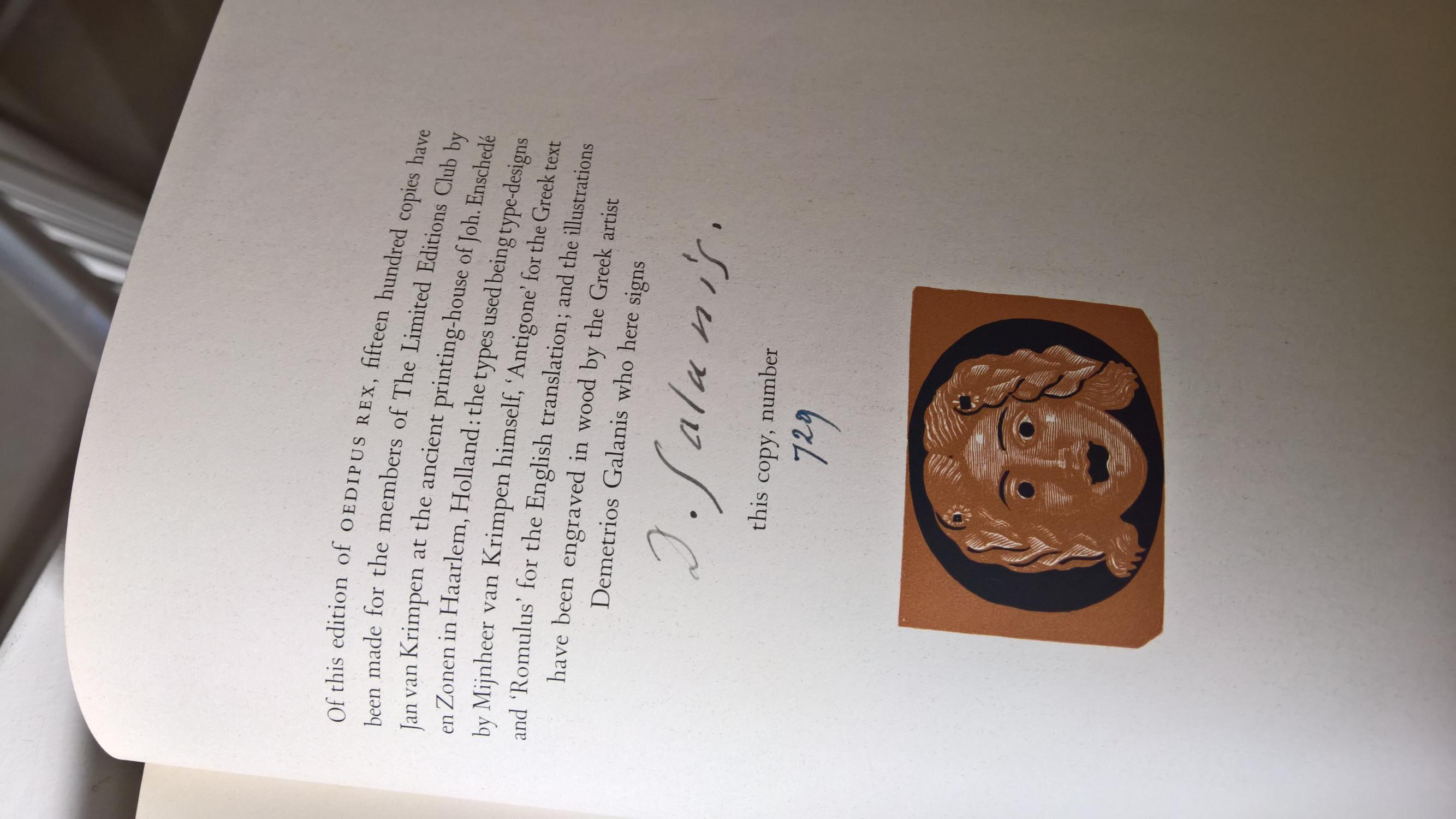 Oedipus The King By Sophocles Hardcover Signed By