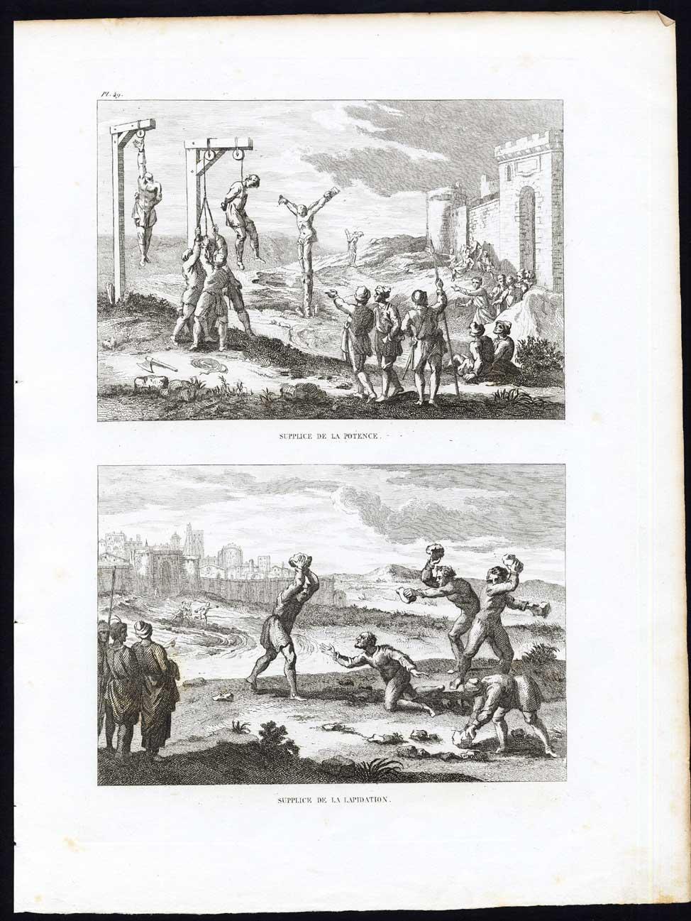 Antique Print-TORTURE-STONING-GALLOWS-CRUSHING-PUNISHMENT