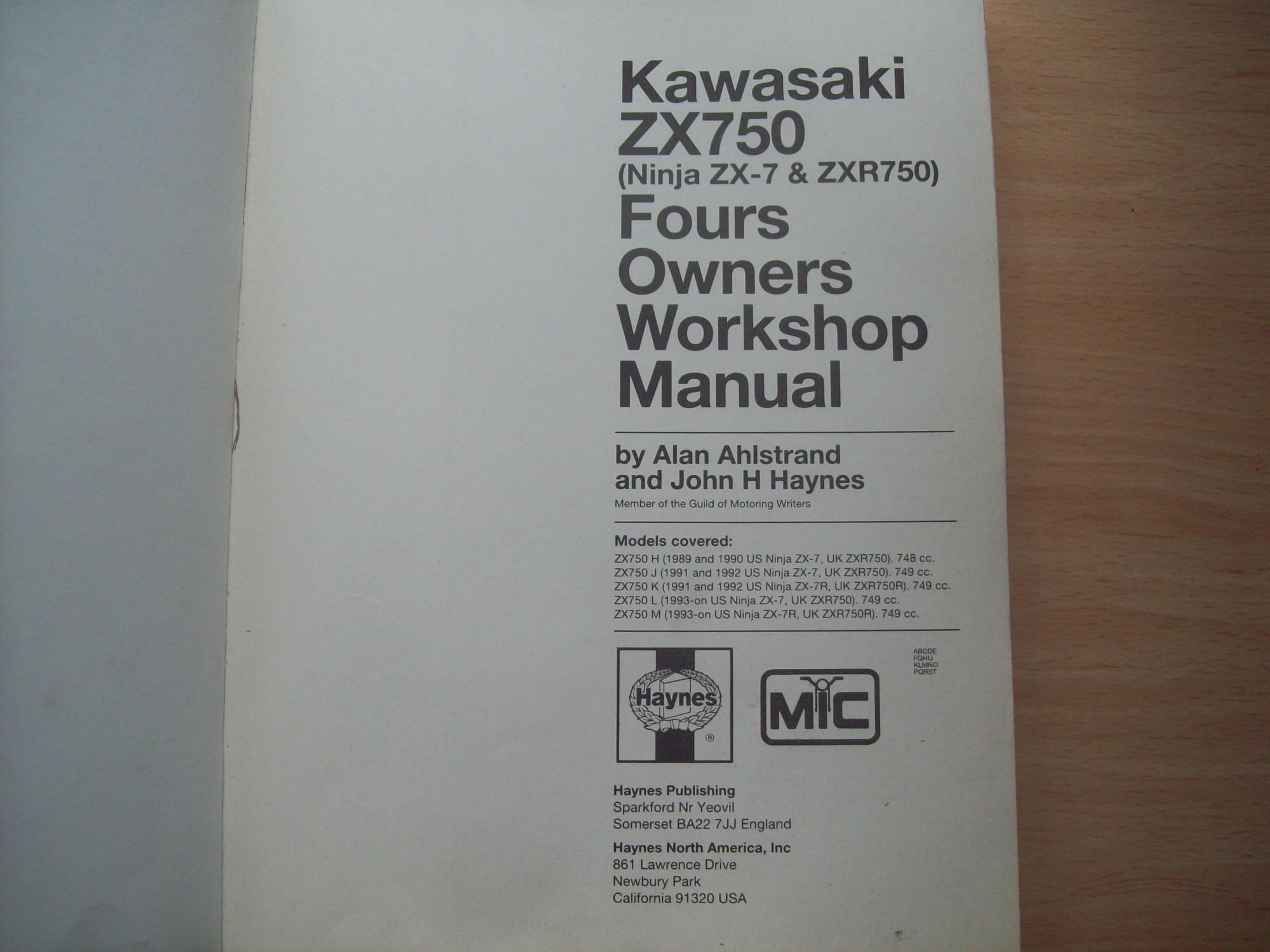 hight resolution of  kawasaki zx750 ninja zx 7 zxr750 fours 1989 to 1995 owners workshop