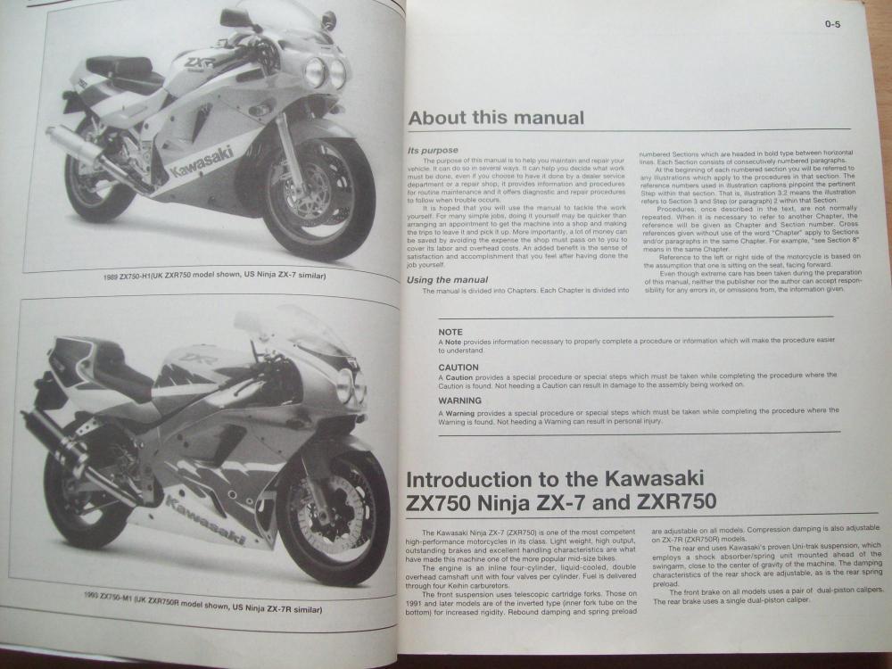 medium resolution of  kawasaki zx750 ninja zx 7 zxr750 fours 1989 to 1995 owners workshop