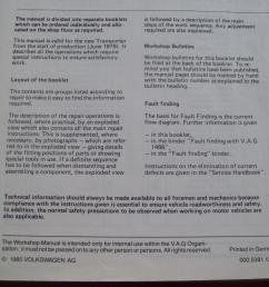 volkswagen transporter workshop manual electrical system april 1985 edition  [ 2000 x 1500 Pixel ]