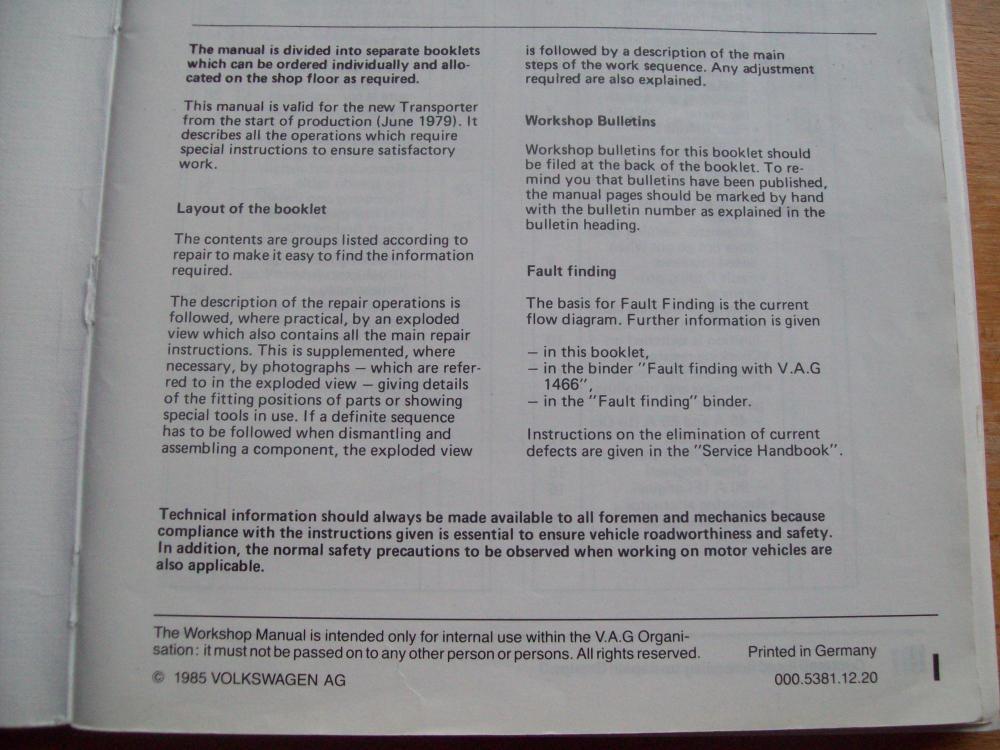 medium resolution of  volkswagen transporter workshop manual electrical system april 1985 edition