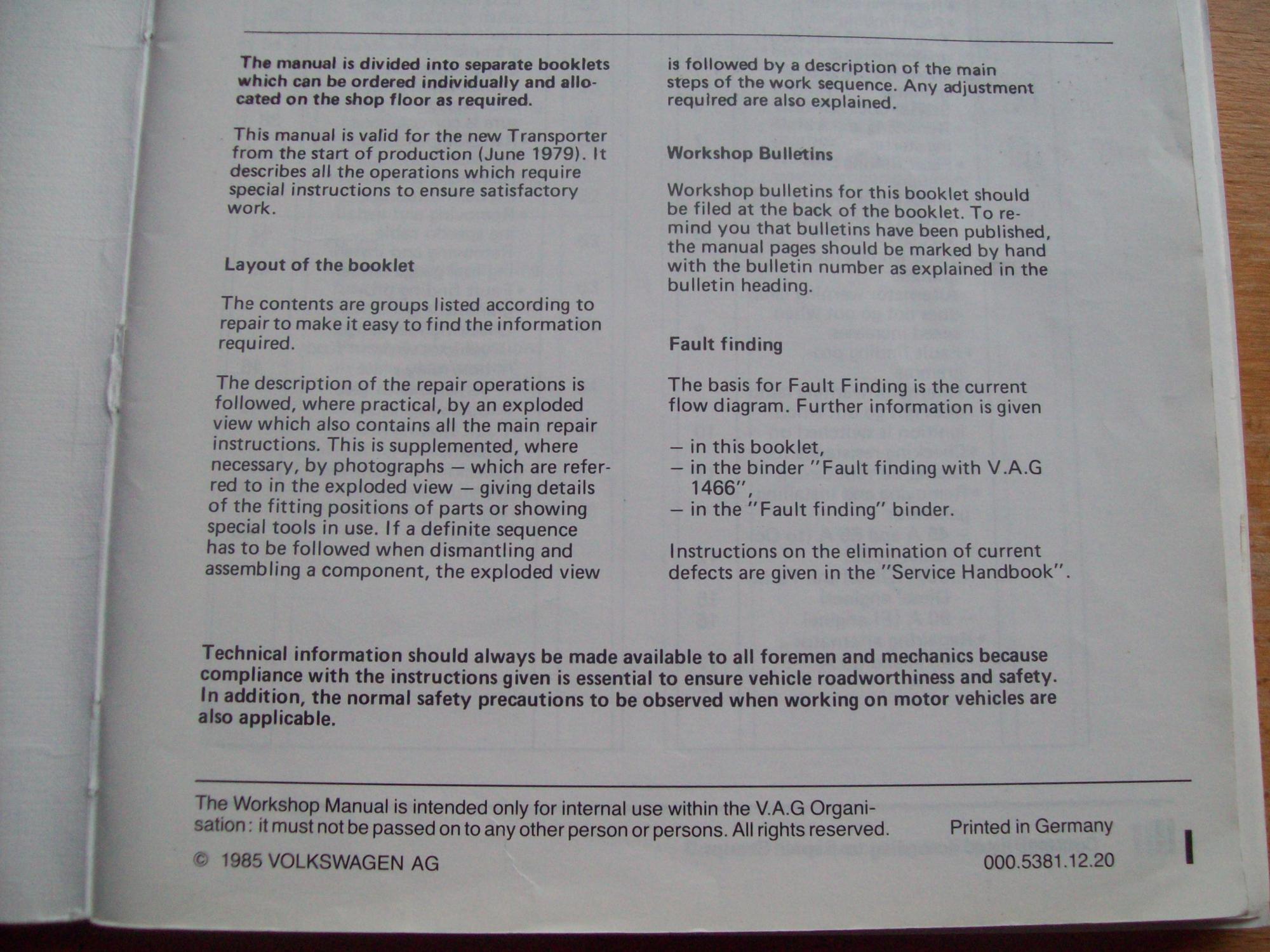 hight resolution of  volkswagen transporter workshop manual electrical system april 1985 edition