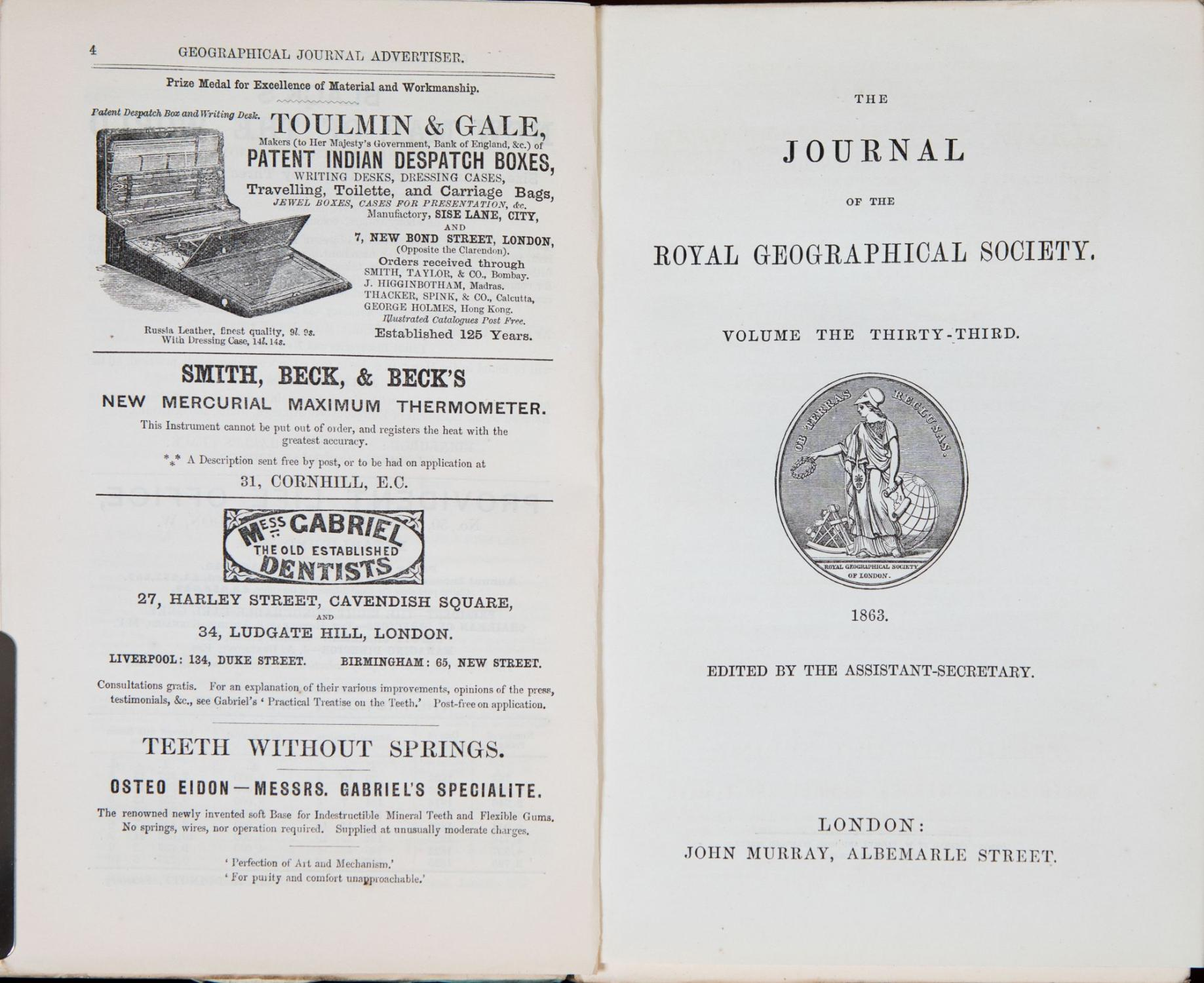 The Journal of the Royal Geographical Society of London by