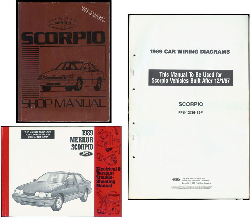 hight resolution of 1989 merkur scorpio shop manual 3 piece set ford motor company