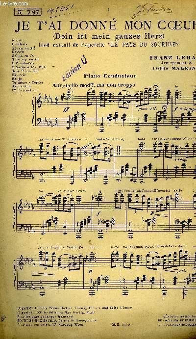 Je T'ai Donné Mon Coeur : donné, coeur, T'AI, DONNE, COEUR, FRANZ, LEHAR:, (1931), Partition, Musique, Le-Livre