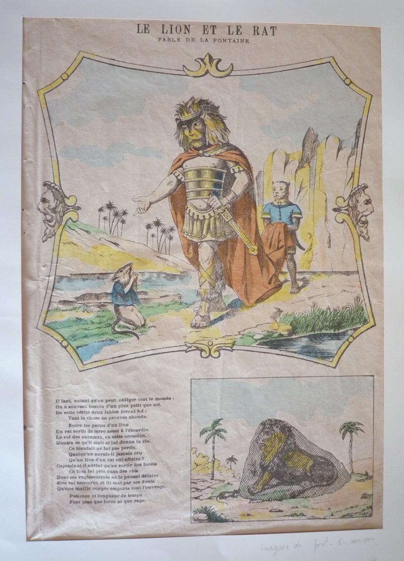 Le Lion Et Le Rat La Fontaine : fontaine, Gravure, (fable, Fontaine), Fontaine, Inconnu, (1000), Abraxas-libris