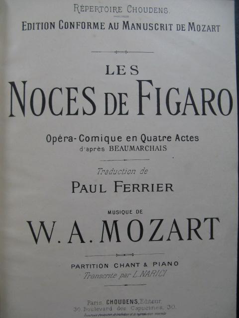 Les Noces De Figaro Mozart : noces, figaro, mozart, MOZART, Noces, Figaro, Opera, Chant, Piano, XIXe?, XIXe?:, SheetMusic, Partitions-anciennes