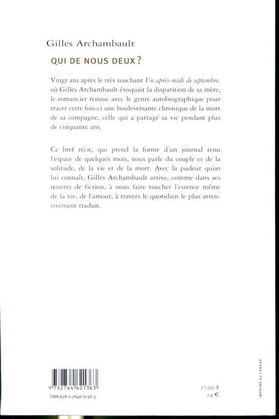 Qui De Nous Deux Couple : couple, Gilles, Archambault:, Couverture, Souple, (2011), Librairie