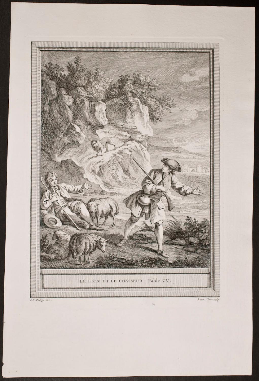 Le Lion Et Le Chasseur : chasseur, Chasseur, Fontaine, Jean-Bapitiste, Oudrey:, (1755), Trillium, Antique, Prints, Books