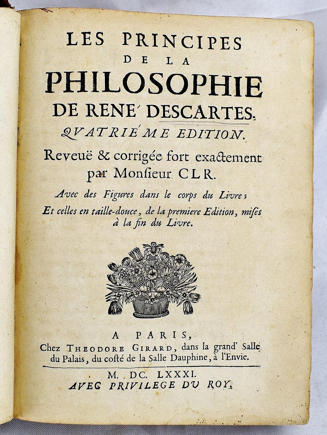 Descartes Principes De La Philosophie : descartes, principes, philosophie, Principes, Philosophie, Descartes:, Hardcover, (1681), Sequitur, Books