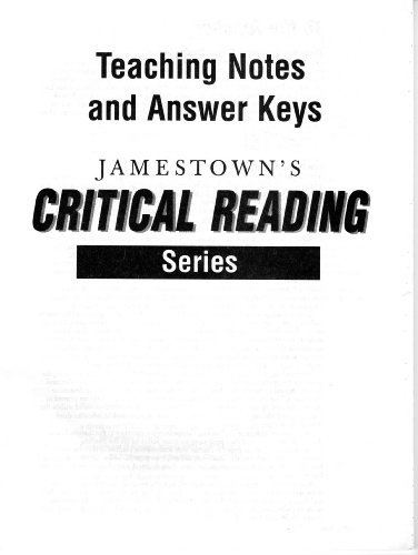 Critical Reading Teachers Notes and Answer Keys by