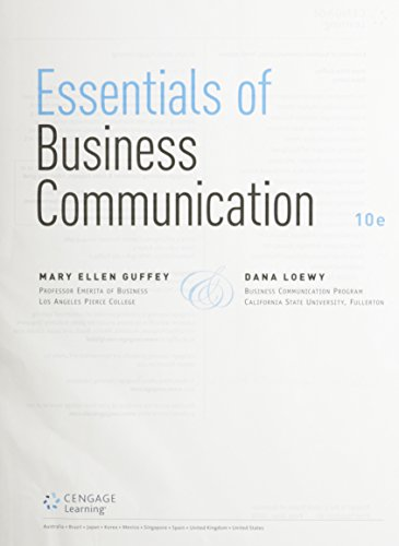 9781305630567: Essentials of Business Communication, Loose