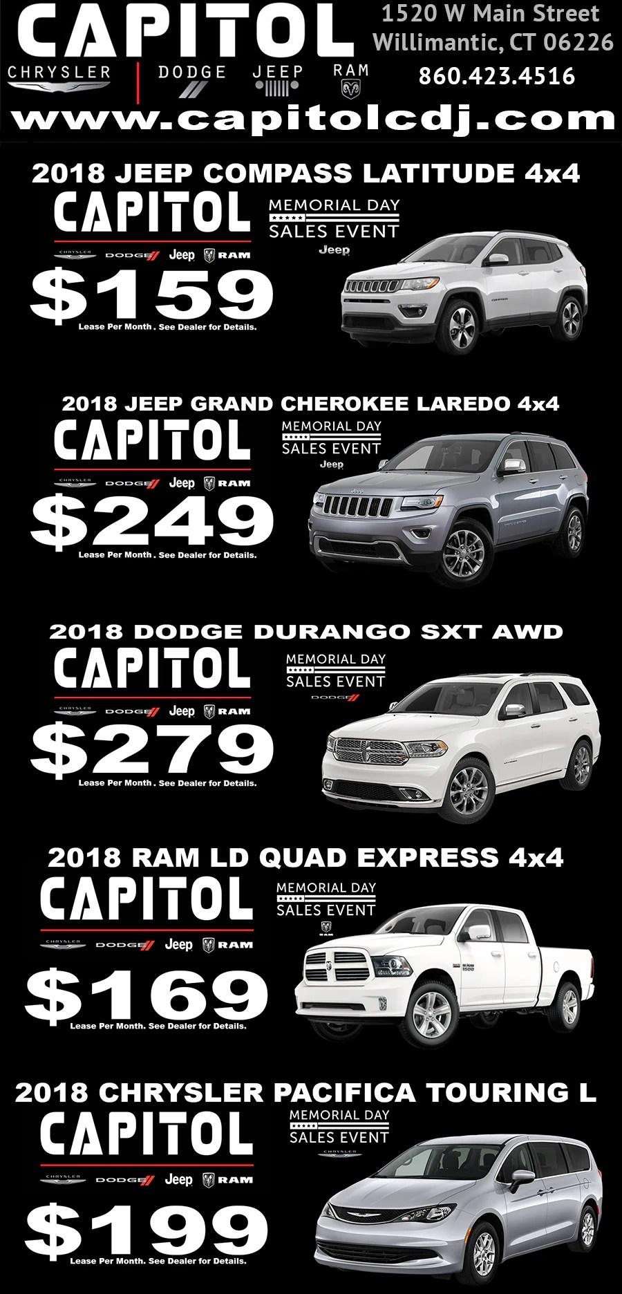 New Car Specials  Capitol Garage Chrysler Dodge Jeep RAM