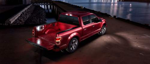 small resolution of 2019 ford f 150 red parked by water at night