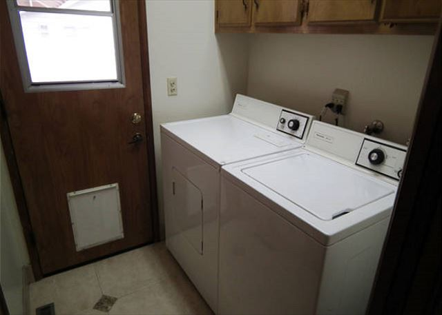 This property comes with a full-size washer and dryer, ideal for staying anywhere overnight.