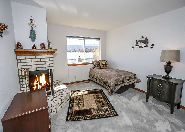 Bedroom #3 with Twin Bed, Fireplace and lakefront views of Big Bear Lake.