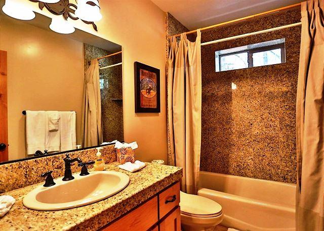 Spacious shower bath.