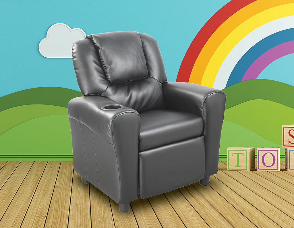 checkout this awesome pu leather kids recliner with drink holder colour