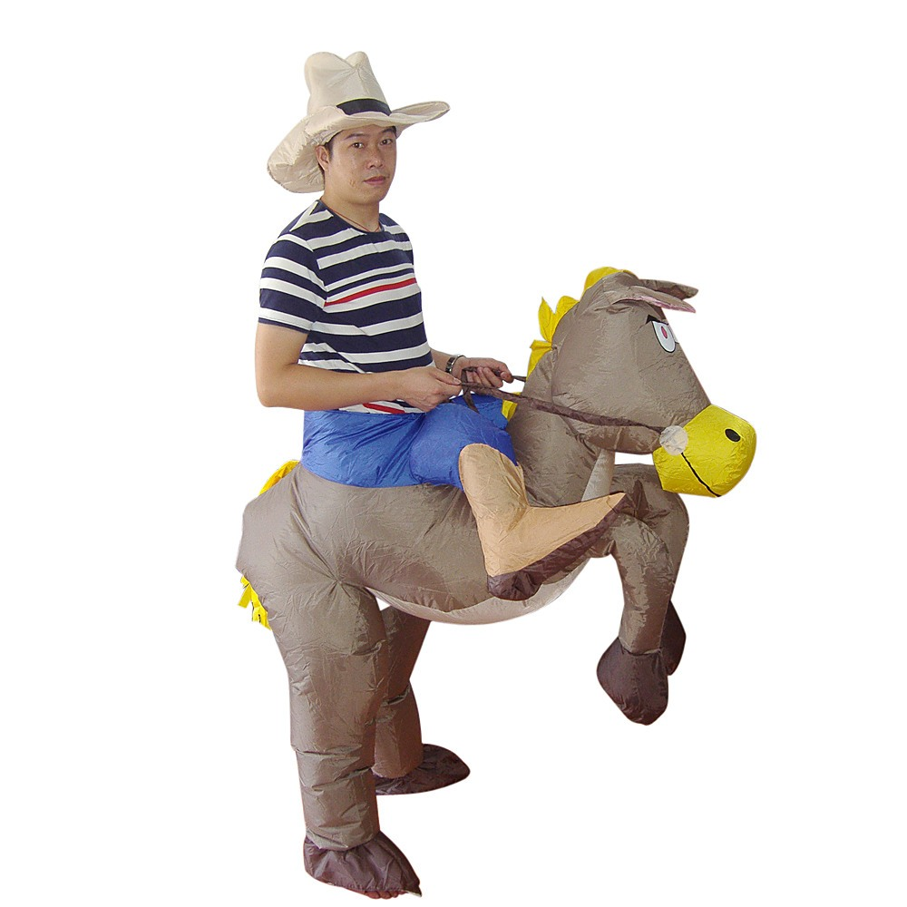 COWBOY Fancy Dress Inflatable Suit Fan Operated Costume