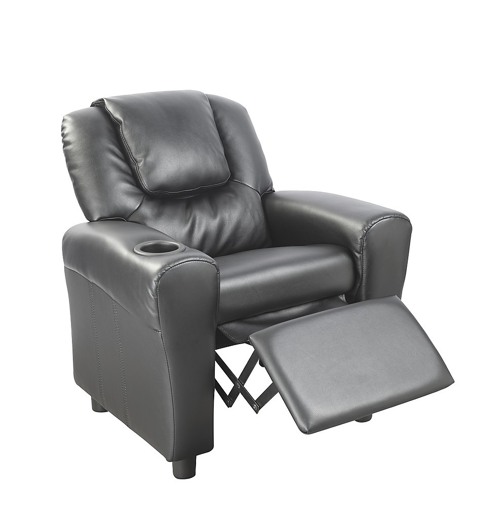 PU Leather Kids Recliner with Drink Holder  Furniture