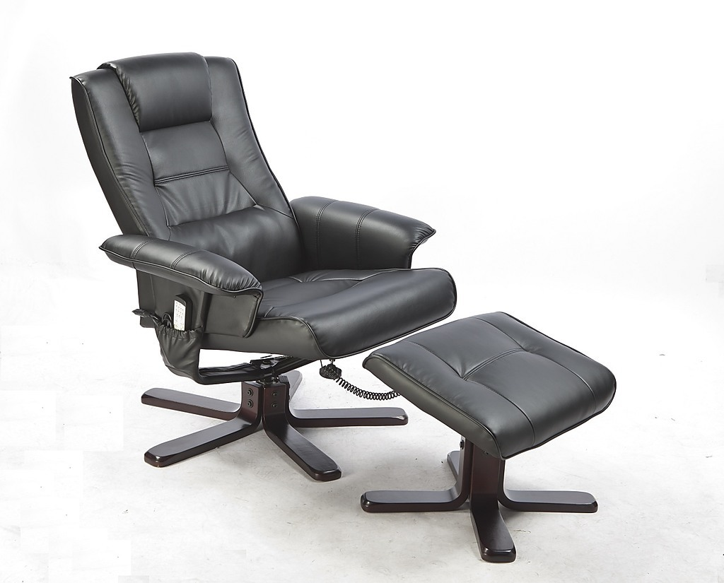 reclining chair with ottoman leather ghost overstock pu full body massage recliner