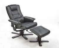 PU Leather Full Body Massage Chair Recliner Ottoman with ...