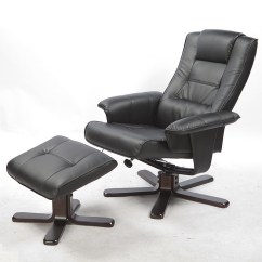 Reclining Chair With Ottoman Leather Ergonomic Computer Chairs Pu Full Body Massage Recliner