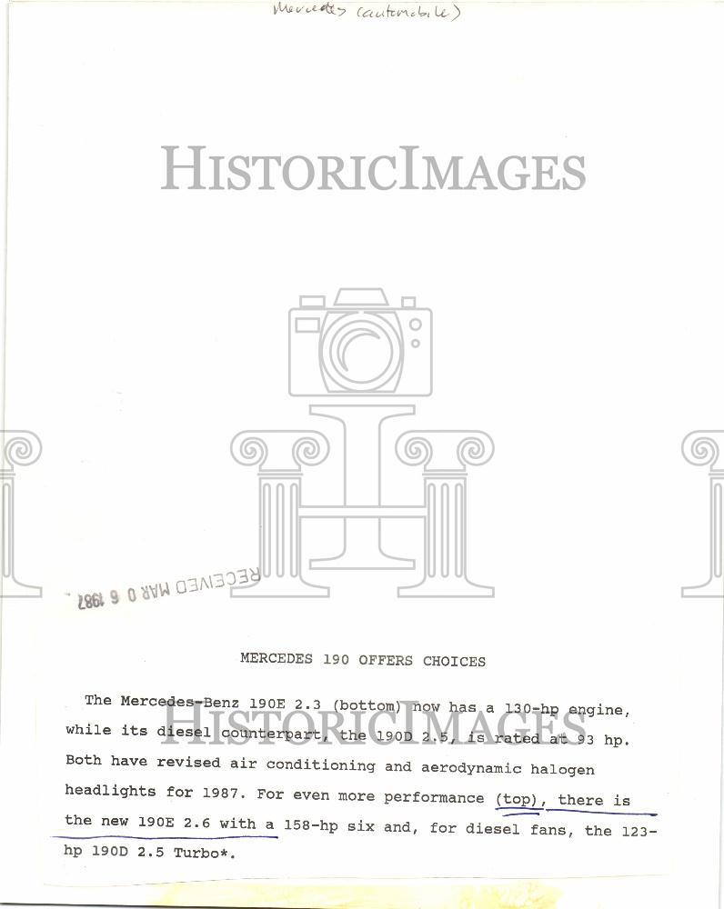 medium resolution of 1987 press photo mercedes benz 190e 2 3 performance