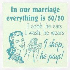 wife shopping on husband