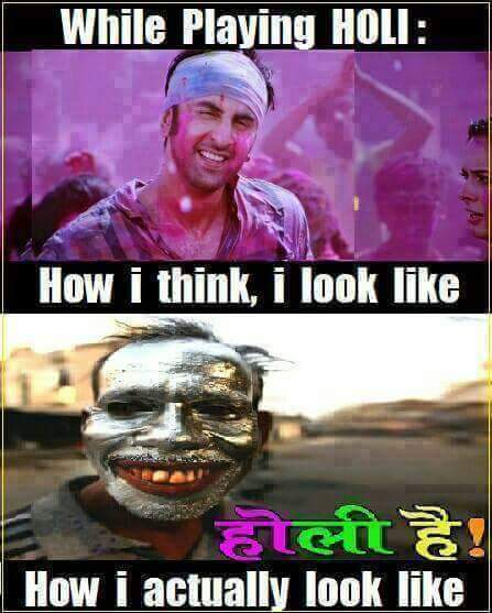 Difference in looks while playing holi