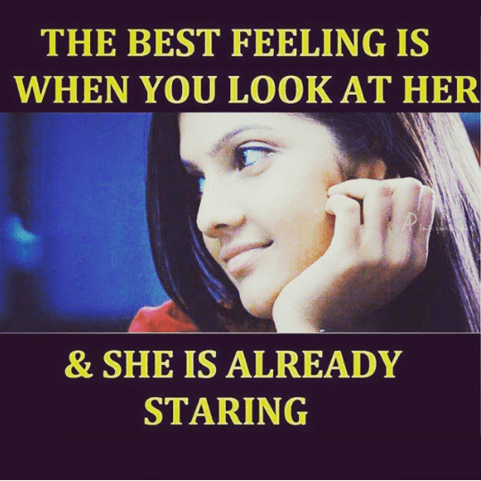The best feeling when your crush is staring at you