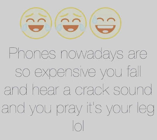You pray its your leg, when your phone falls - Funny image