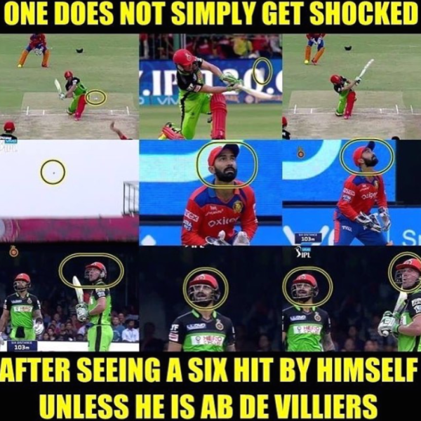 AB Divilliers shocked after hitting a six in IPL