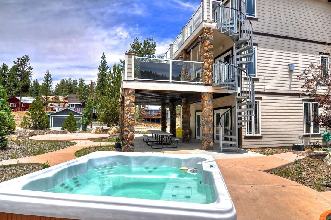 Hot Tub and Spiral Stairs to Decks
