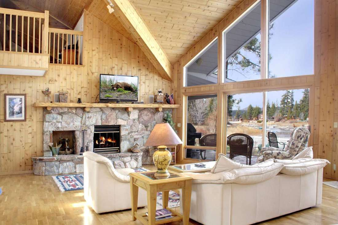 Great room with fireplace and two story windows!