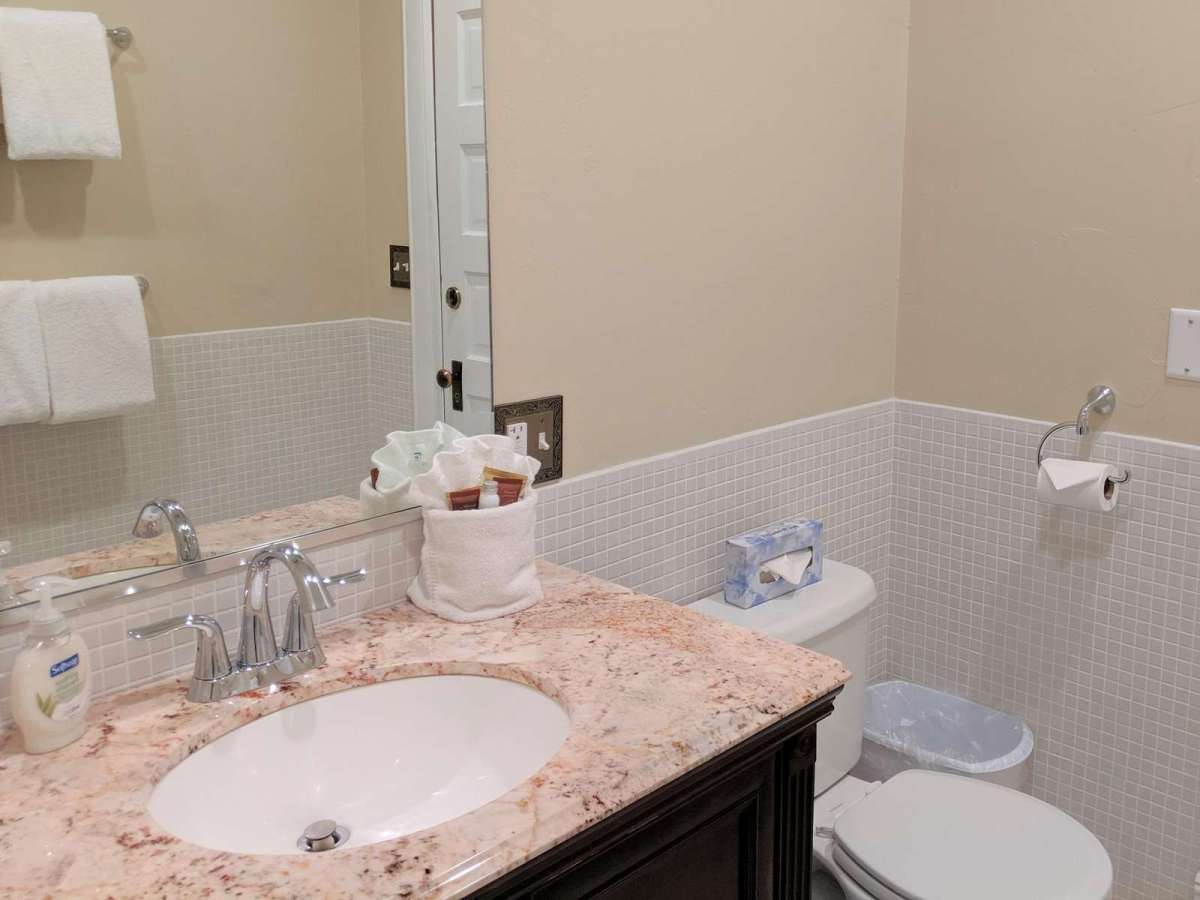 Main Bathroom on the second floor comes with extra towels and complimentary soap