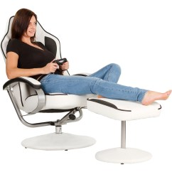 Exercise Gaming Chair Tablet Arm Chairs Canada Racing Tv Relax Racer Gt With Footrest White