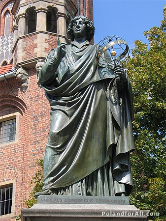 Statue of Copernicus in Torun, Poland, where he studied.