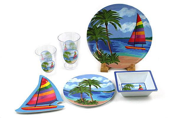 Sailboat and Palm Tree Plastic Dinnerware Set