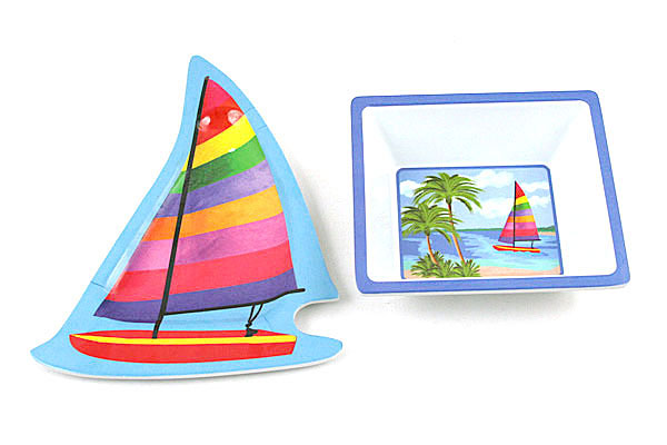 Sailboat and Palm Tree Plastic Dinnerware Set