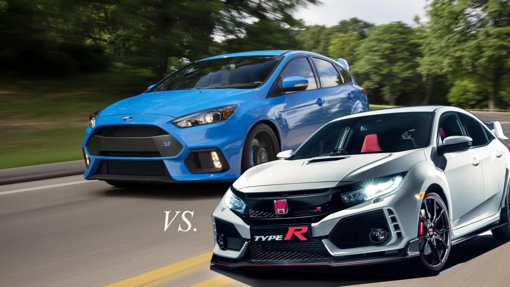 medium resolution of hot hatch shakedown honda civic type r vs ford focus rs