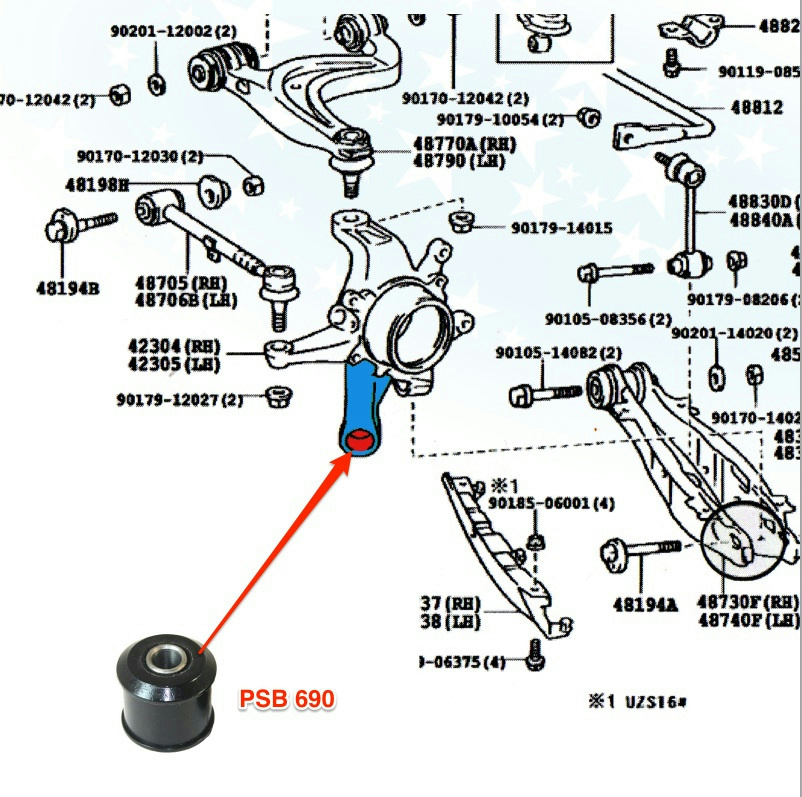 GS300 GS330 (98-05) IS300 (01-05) Rear Axle Carrier Poly