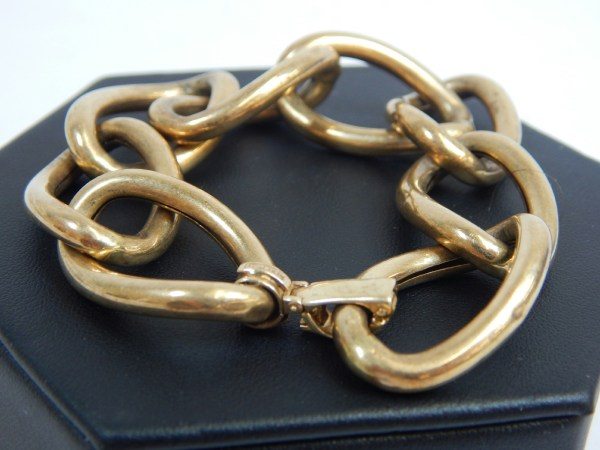 Kt Yellow Gold Vintage Bracelet Large Hollow Link Chain Jewelry