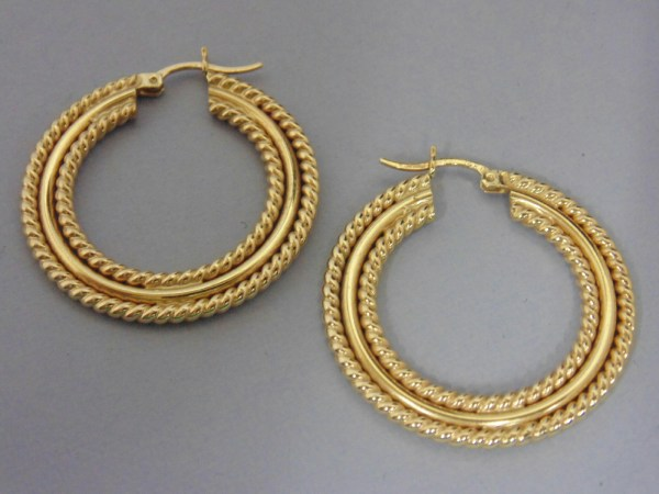 Tested 14 Kt Yellow Gold Hoop Jewelry Earrings Large - 1 4