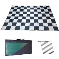 RV Patio Awning Mat Outdoor 9x12 Black Silver Checkered