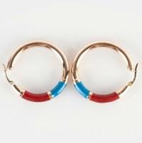 Fine 14k Yellow Gold Large Hoop Earrings W/ Blue & Red ...