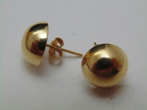 14k Yellow Gold Large Semicircle Ball Stud Earrings Jewelry